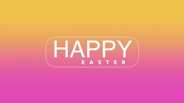 Primer texto feliz pascua de resurrección en morado y amarillo de moda y fondo moderno. estilo de ilustración 3d elegante y de lujo para plantilla de vacaciones y promoción