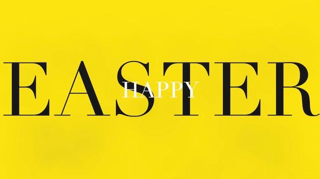 Primer texto feliz pascua de resurrección sobre fondo amarillo de moda y minimalismo. estilo de ilustración 3d elegante y de lujo para plantilla de vacaciones y promoción