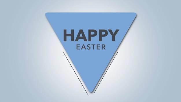 Primer texto feliz pascua de resurrección sobre fondo blanco de moda y minimalismo con triángulo azul. estilo de ilustración 3d elegante y de lujo para plantilla de vacaciones y promoción