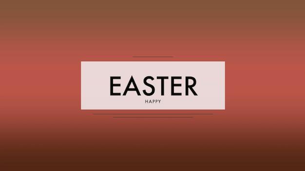 Primer texto feliz pascua de resurrección sobre fondo rojo de moda y minimalismo. estilo de ilustración 3d elegante y de lujo para plantilla de vacaciones y promoción