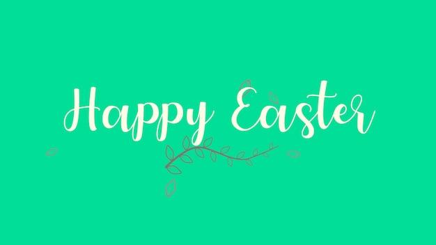 Primer texto feliz pascua de resurrección sobre fondo verde de moda y primavera. estilo de ilustración 3d elegante y de lujo para plantilla de vacaciones y promoción