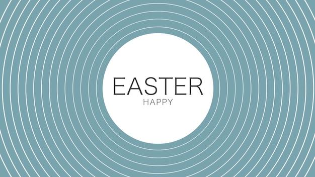 Primer texto feliz pascua sobre fondo azul de moda y minimalismo con líneas de vértigo. estilo de ilustración 3d elegante y de lujo para plantilla de vacaciones y promoción