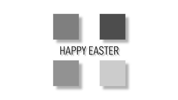 Primer texto feliz pascua sobre fondo blanco de moda y minimalismo con cuadrados grises y negros. estilo de ilustración 3d elegante y de lujo para plantilla de vacaciones y promoción