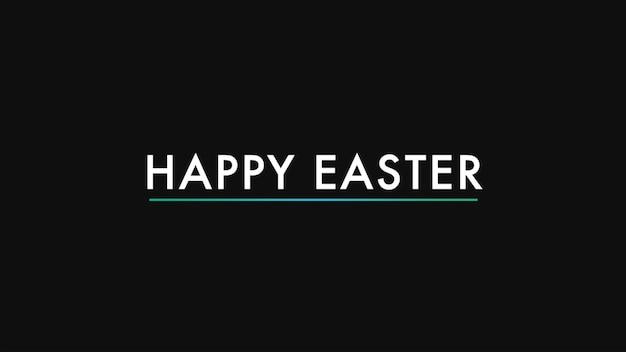 Primer texto feliz pascua sobre fondo negro de moda y minimalismo. estilo de ilustración 3d elegante y de lujo para plantilla de vacaciones y promoción
