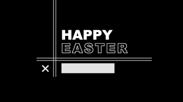 Primer texto feliz pascua sobre fondo negro de moda y minimalismo con líneas abstractas. estilo de ilustración 3d elegante y de lujo para plantilla de vacaciones y promoción