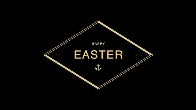 Primer texto feliz pascua sobre fondo negro de moda y minimalismo con marco dorado. estilo de ilustración 3d elegante y de lujo para plantilla de vacaciones y promoción