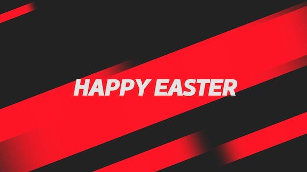Primer texto feliz pascua sobre fondo negro de moda y minimalismo con rayas geométricas rojas. estilo de ilustración 3d elegante y de lujo para plantilla de vacaciones y promoción