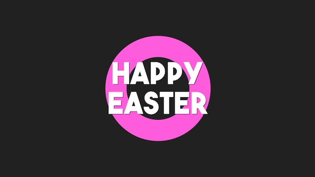 Primer texto feliz pascua sobre fondo negro de moda y minimalismo con ronda rosa