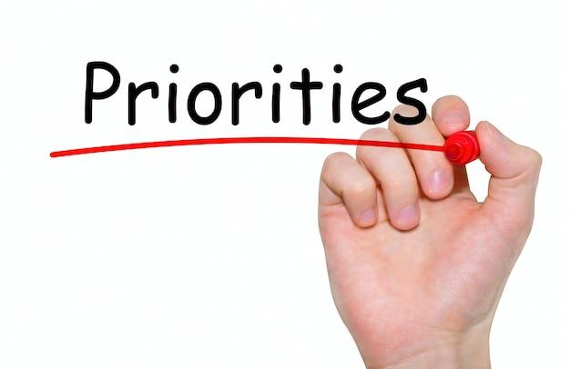 Prioridades de escritura a mano con marcador rojo en tablero transparente.