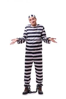 Prisionero hombre aislado en blanco