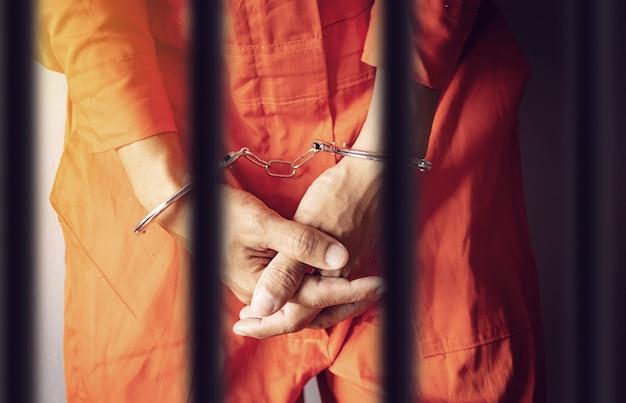 Prisionero de las manos esposadas detrás de la prisión