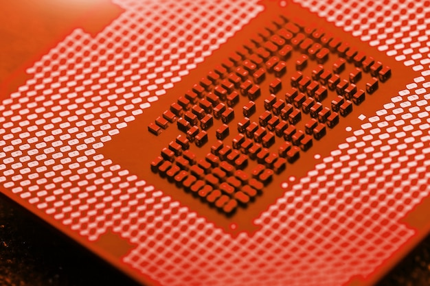 Procesador central en la placa base de la computadora