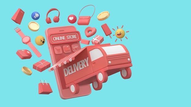 Procesamiento 3d concepto de servicio de entrega en línea, seguimiento de pedidos en línea, logística y entrega, en mobile.online seguimiento de pedidos, entrega a domicilio y oficina. almacén.