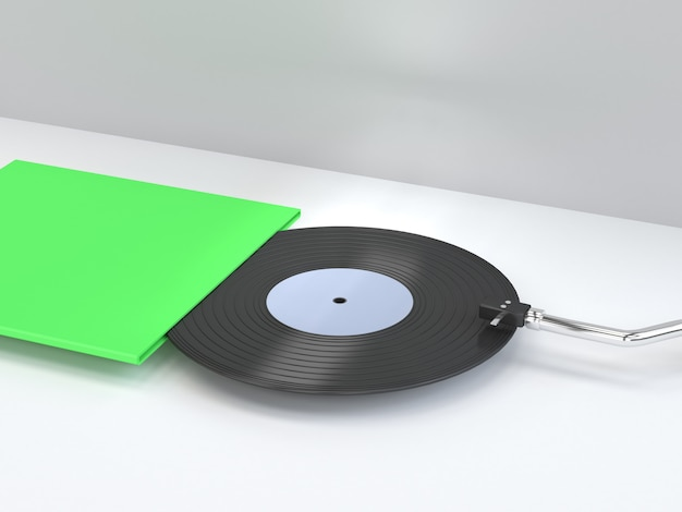 Procesamiento 3d disco de vinilo de escena blanca abstracta con empaque de caja de cubierta en blanco verde tecnología de música de estilo de dibujos animados mínimo.