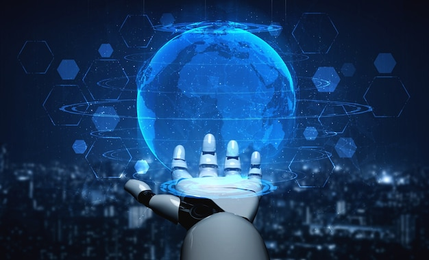Procesamiento de 3d inteligencia artificial investigación de inteligencia artificial del desarrollo de robots y cyborg para el futuro de las personas que viven. diseño de tecnología de minería de datos digital y aprendizaje automático para cerebro de computadora.