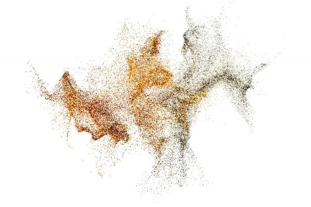 Procesamiento 3d de partículas de polvo salpicaduras de oro y plata abstractas