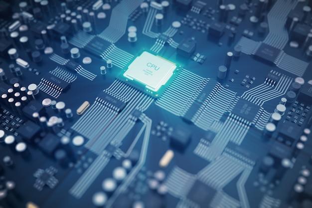Procesamiento 3d placa de circuito. fondo de tecnología concepto de cpu de procesadores informáticos centrales