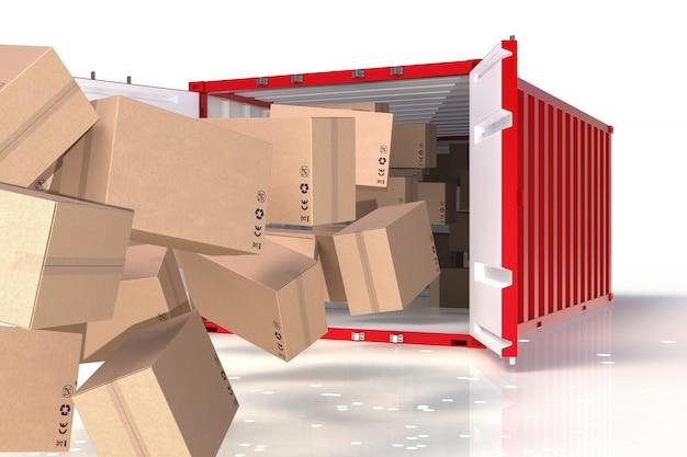 Procesamiento 3d del producto de envío, caja en el contenedor.