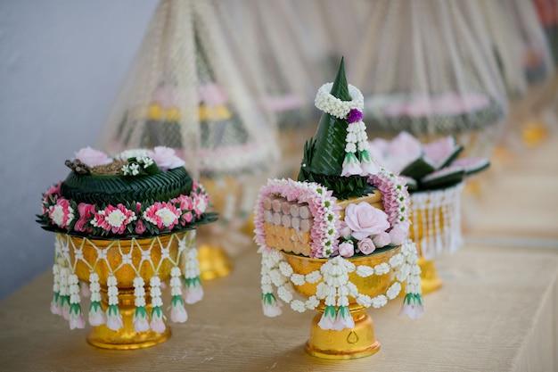 La procesión de khan makk, ceremonia tradicional tailandesa, compromiso