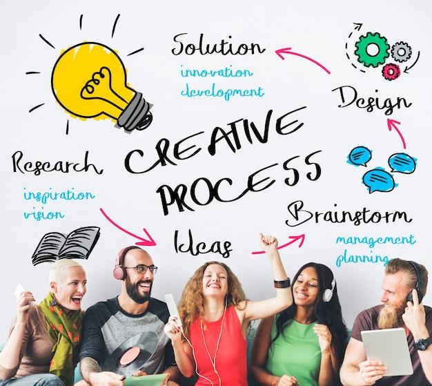Proceso creativo personas concepto gráfico de bombilla