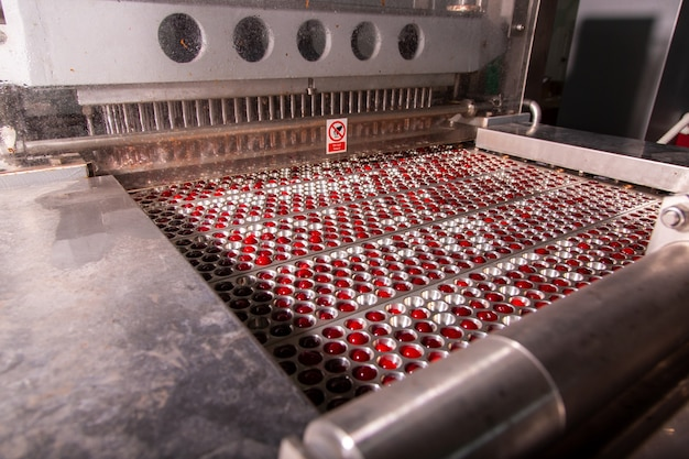 Proceso mecánico de clasificación de cerezas antes de congelar. ordenado por tamaño.