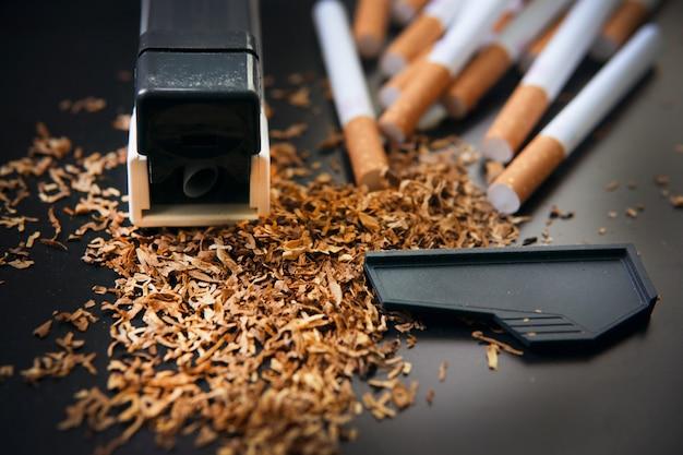 Producción de cigarrillos en casa.