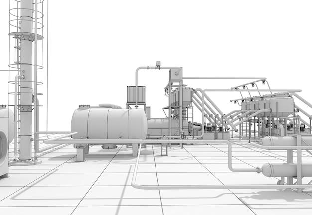 Producción química, planta de procesamiento de residuos, visualización exterior