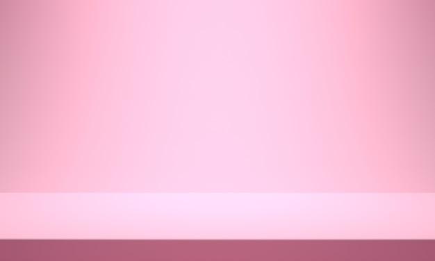 Producto de fondo rosa. fondo de escaparate de telón de fondo. representación 3d