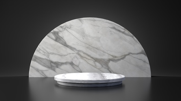 Producto de mármol blanco media luna círculo soporte sobre fondo negro. concepto de geometría mínima abstracta