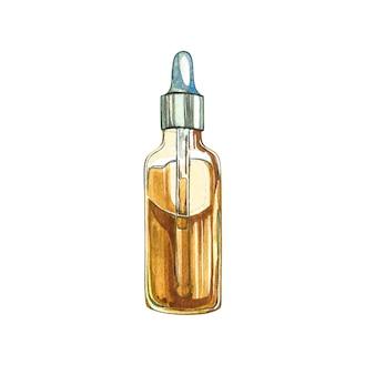 Productos de cáñamo de aceite de cbd. ilustración acuarela en blanco