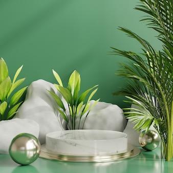 Los productos muestran una escena de podio verde para la presentación del producto, representación 3d