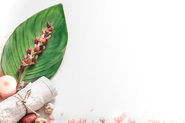 Productos orgánicos de spa sobre fondo blanco.