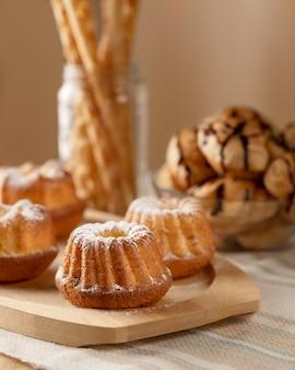 Productos de panadería para el desayuno.
