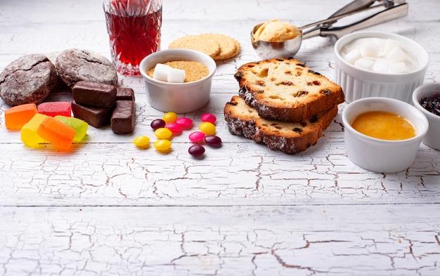 Productos poco saludables con alto contenido de azúcar