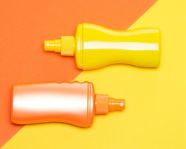 Productos de protección solar. cosméticos de protección solar. bronceador. concepto de bronceado seguro
