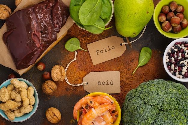 Productos ricos en ácido fólico.