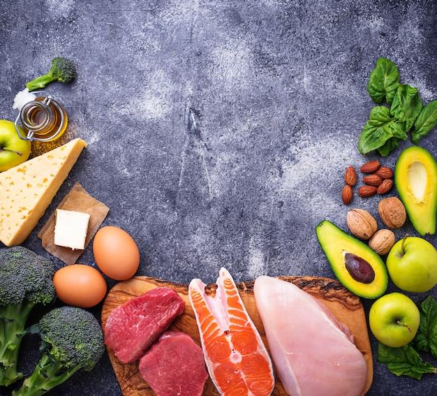 Productos saludables bajos en carbohidratos. dieta cetogénica.