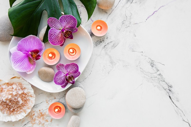 Productos de spa con orquídeas