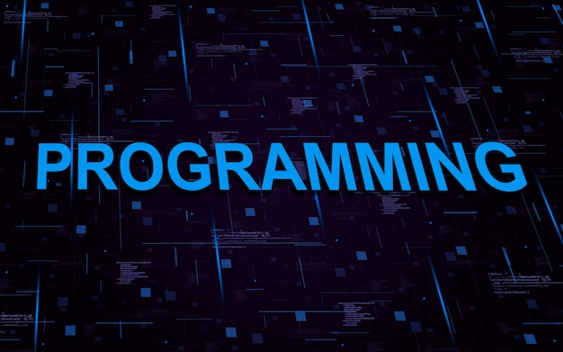Programación de texto con elementos de código y líneas de luces.