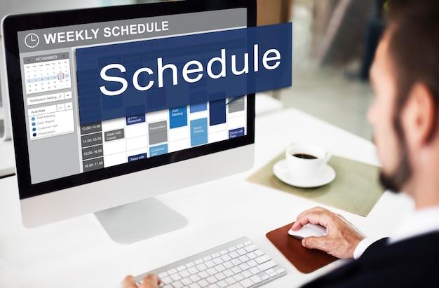 Programar lista de planificación de la organización para hacer el concepto