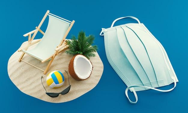 Prohibición de viajar a las vacaciones de verano debido al riesgo de virus con máscara respiratoria en la playa, ilustración de renderizado 3d