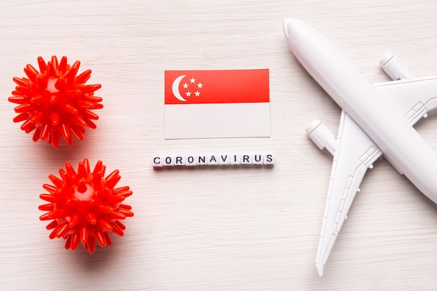 Prohibición de vuelos y cierre de fronteras para turistas y viajeros con coronavirus covid-19. avión y bandera de singapur en un blanco