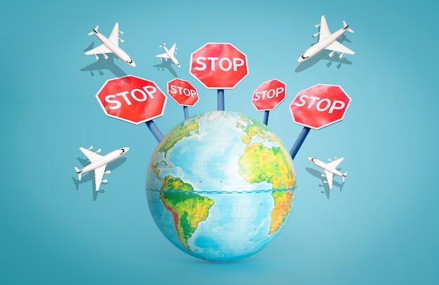 Prohibición de vuelos y fronteras cerradas para turistas y viajeros.concepto de zona nofly.