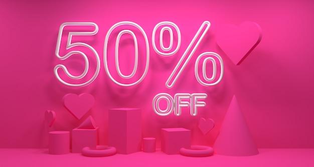 Promo valentine day venta banner fondo. geometría renderizado 3d.