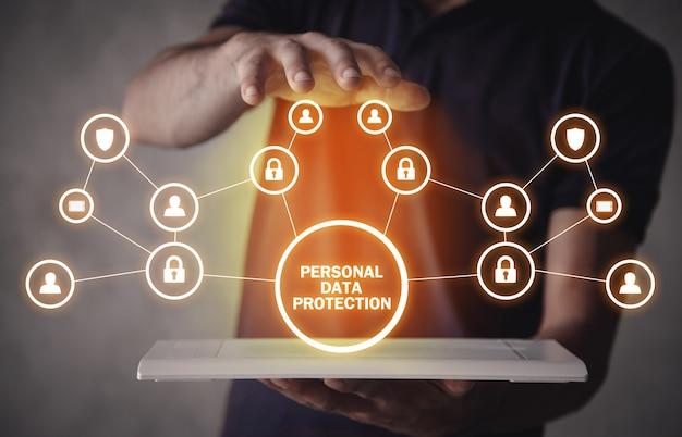 Protección de datos personales. negocios, internet, tecnología