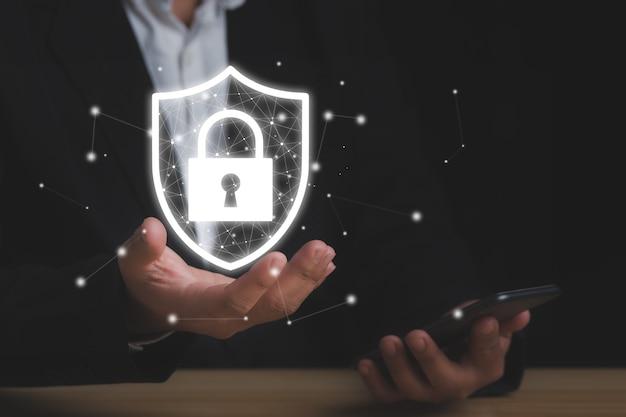 Protección de datos, privacidad y concepto de red de ciberseguridad.