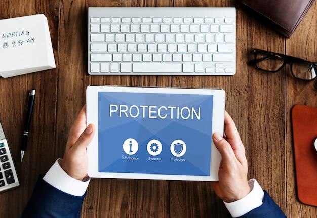 Protección de datos de privacidad escudo concepto gráfico