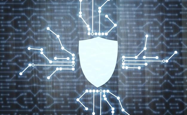 Protección de escudo. internet y tecnología. seguridad