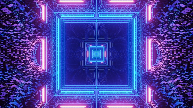 Proyección virtual de luces formando un patrón cuadrado detrás de un fondo oscuro
