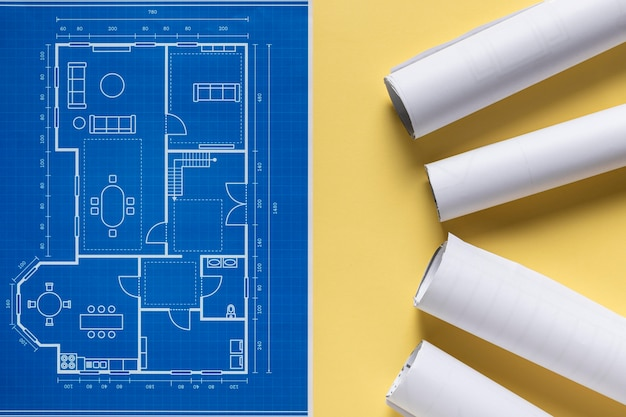 Proyecto arquitectónico plano con disposición de diferentes herramientas.